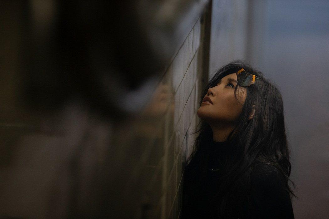 A-Lin首次與蝶對戲,停留臉上超唯美,讓她直呼「越級打怪」。圖/索尼提供