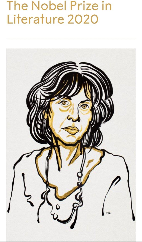 諾貝爾文學獎新科得主露伊絲‧葛綠珂( Louise Glück)。圖片取自諾貝爾獎官網