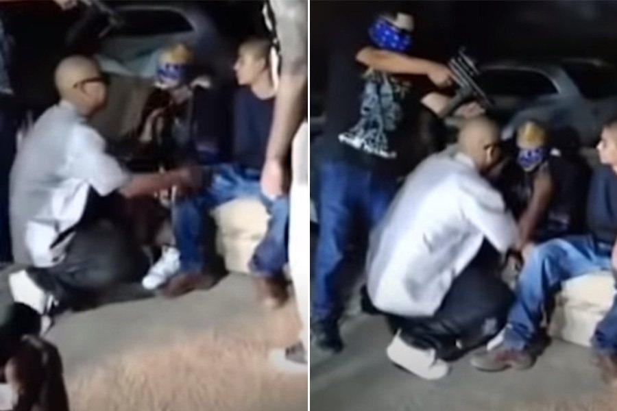 墨西哥女網紅假裝被綁架,雙手遭綁且戴上眼罩,一旁飾演綁罪的男子持槍不停向她叫囂。