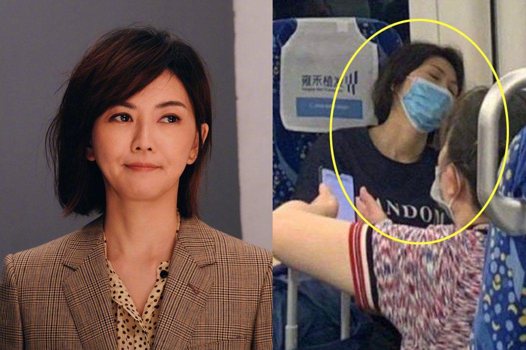 有網友曝光疑似孫燕姿在高鐵上睡癱的照片。圖/擷自微博