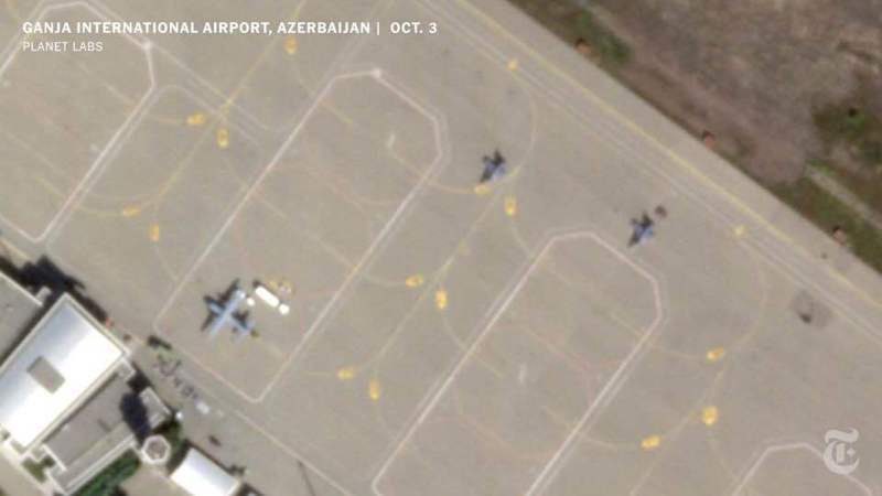 衛星圖像顯示,至少有兩架幾乎能確定屬於土耳其空軍的F-16「毒蛇」本月稍早停在亞塞拜然的占賈國際機場。(取材自臉書)