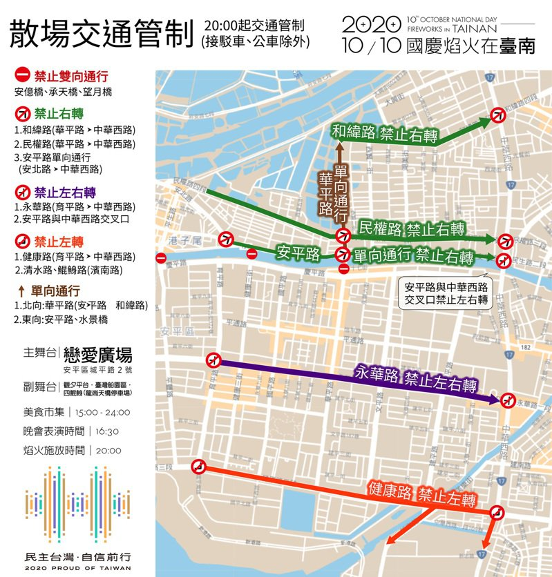 國慶焰火散場管制資訊。圖/台南市交通局提供