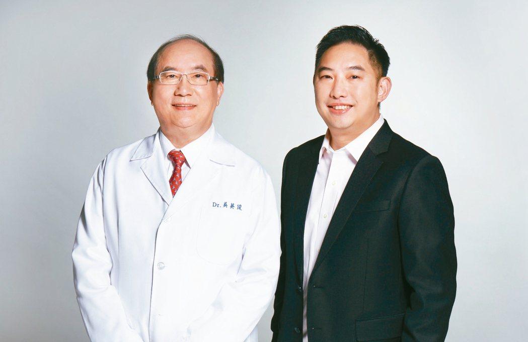 皮膚科權威醫師吳英俊(左)達爾膚董事長吳奕叡(右)