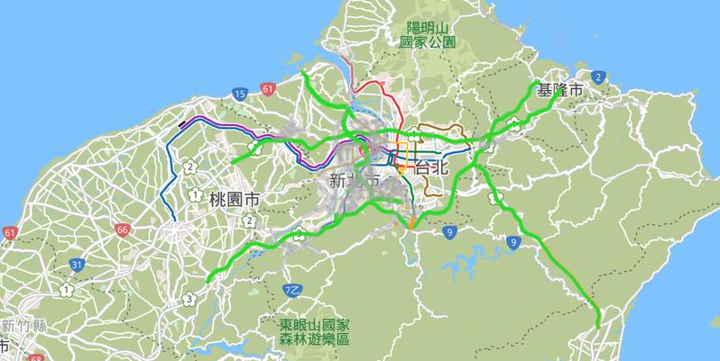 國慶連假進入第2天,根據新北即時交通資訊網顯示,新北包含台61、台64及台65等路段、市區道路、國一、國三、國五新北坪林等路段也都屬順暢。圖/新北即時交通資訊網提供