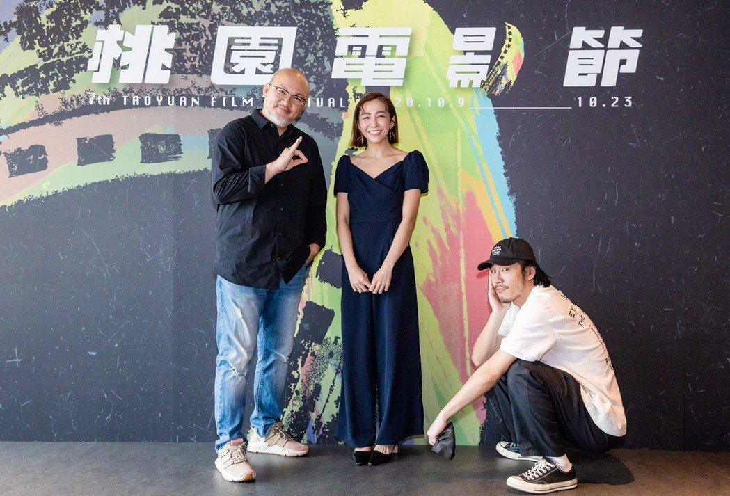 劉亮佐(左起)、林雨葶及黃騰浩出席「陽光電台不打烊」首映,劉亮佐在片中有多場模仿...