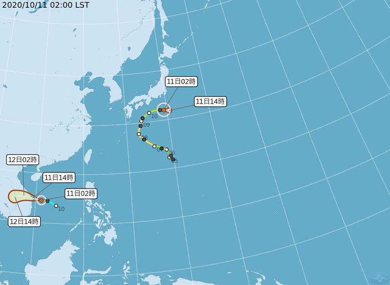 目前太平洋地區有兩個颱風,包括日本附近的輕度颱風昌鴻,以及今天凌晨2時生成的輕度颱風蓮花。圖/取自氣象局網站