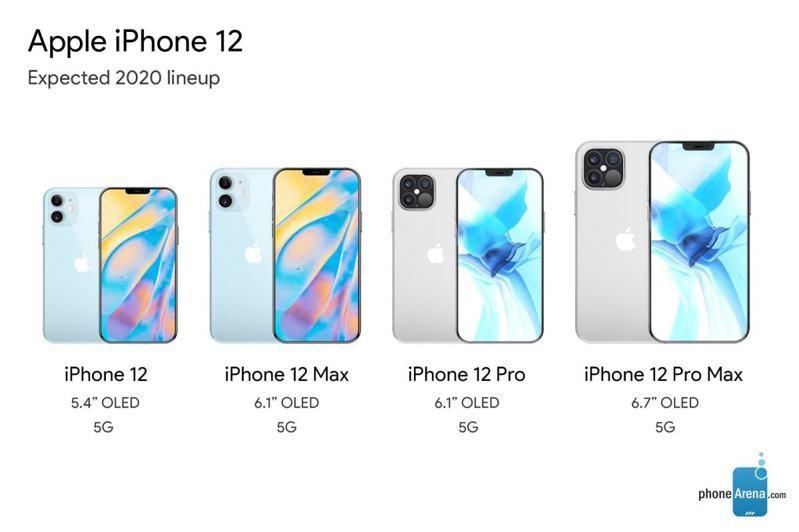 外媒揭露的iPhone 12系列規格,投資人與台廠關注這次新機推出後,能否如預期颳起換機旋風。圖/取自phoneArena.com