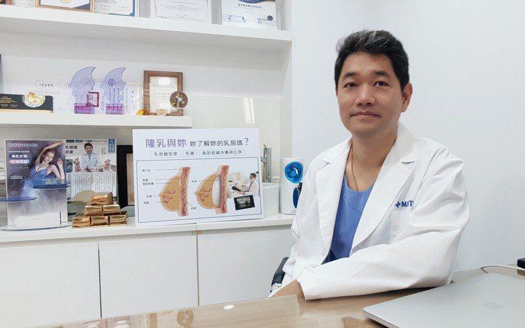 整形醫師張大力院長說明如何利用內視鏡隆乳手術,精準植入義乳位置,呼籲術前一定要向...