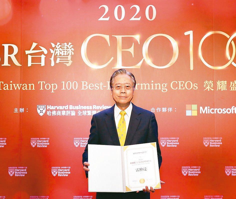 合庫金控董事長雷仲達獲2020 HBR台灣CEO 100強殊榮。 合庫金控/提供