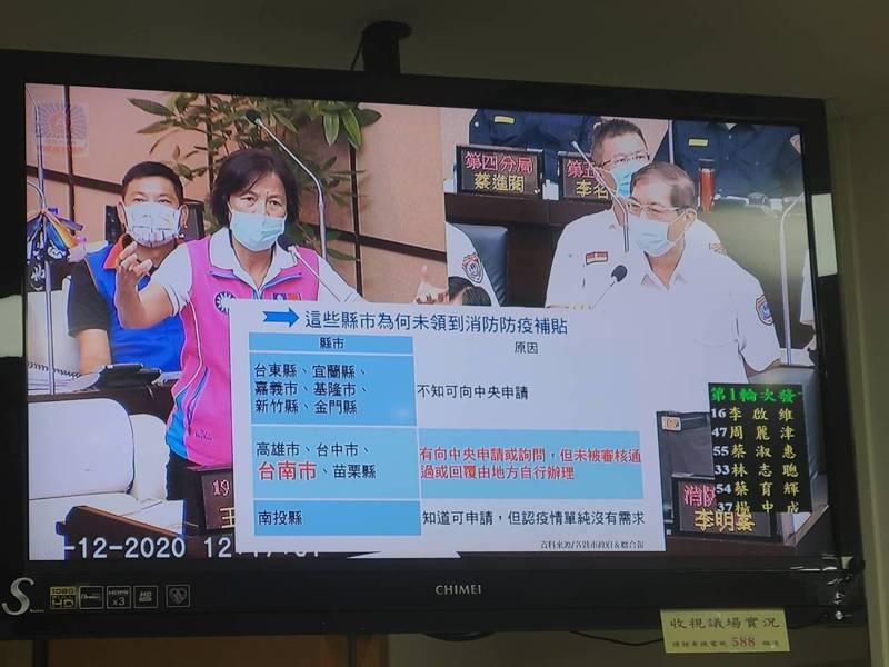 台南市議員王家貞(左)關切消防防疫津貼沒下文,要求消防局長李明峯(右)積極爭取。記者黃宣翰/翻攝