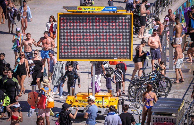 澳洲至今實施新冠防疫的社交距離措施,雪梨邦代海灘本月5日電子告示板上說明,已接近人數上限。法新社