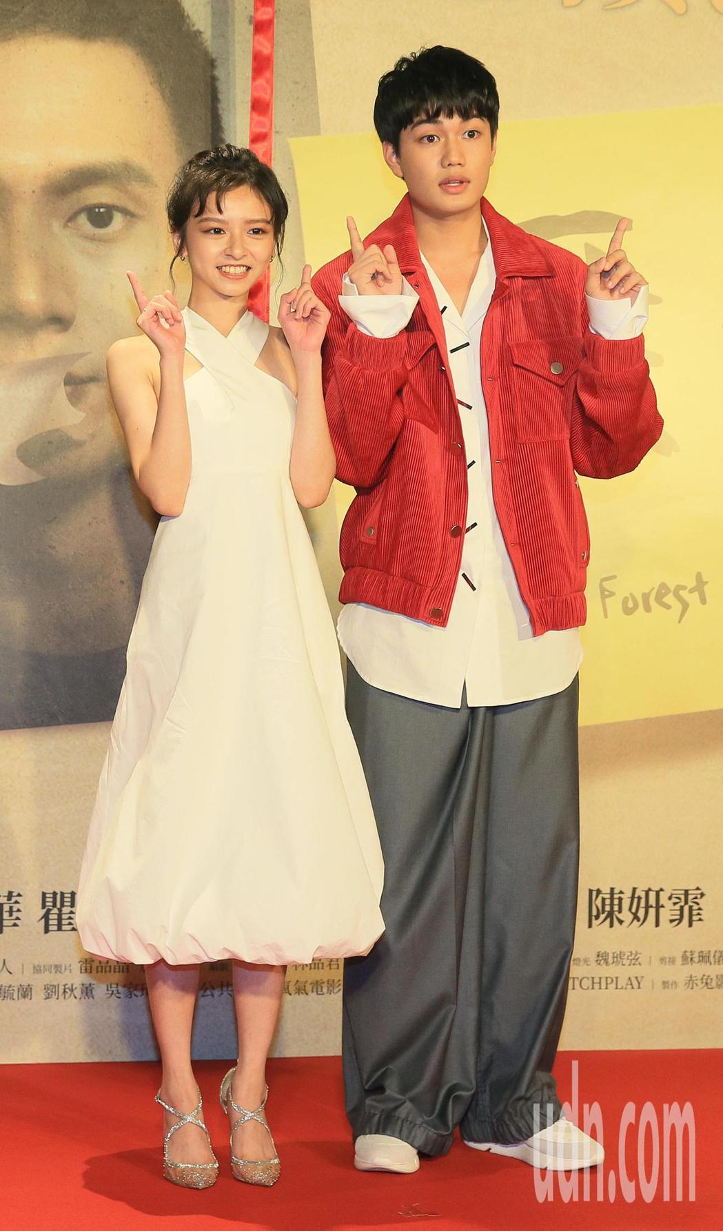「無聲」今晚首映,男女主角劉子銓(右)及陳妍霏(左)出席。記者潘俊宏/攝影