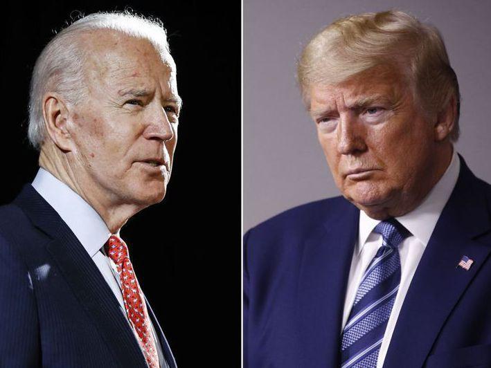 美國總統大選,兩位候選人川普(右)與拜登(左)的健康問題再成話題。美聯社