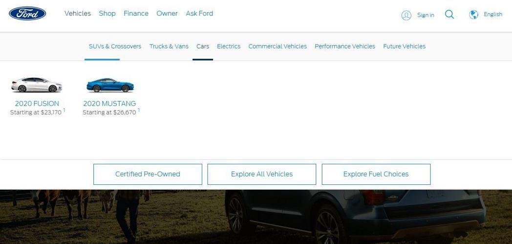 Ford USA官網僅剩兩台車,Fusion還已經停產。 摘自Ford