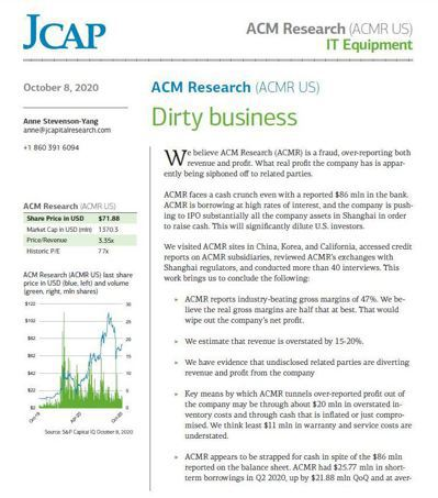 美國J Capital Research,日前以Dirty business(骯...