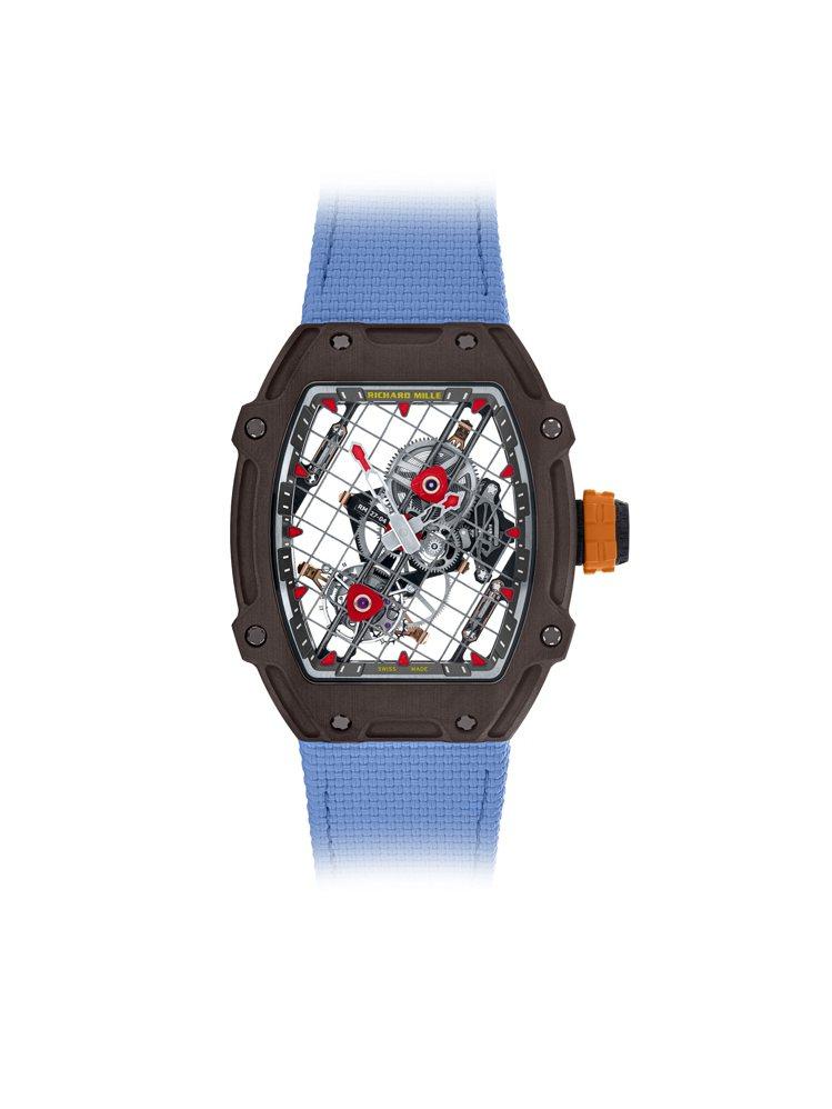 鏤空、並以網球拍為靈感設計的RM 27-04陀飛輪腕表,以超輕量的特製鋼索,將奇...