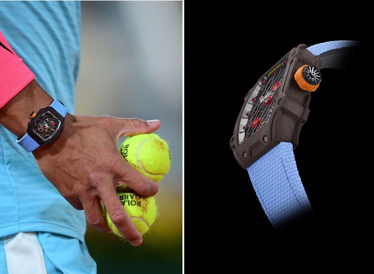 Rafael Nadal在本次法網比賽時,戴上了最新款RM 27-04陀飛輪腕表...