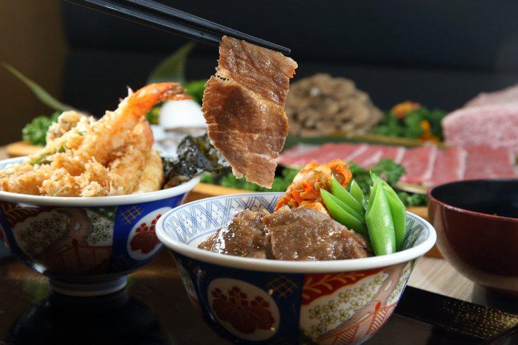 在「日本和牛雙饗丼」中,民眾可品嚐到老乾杯所供應的A4~A5和牛燒肉片。記者陳睿...
