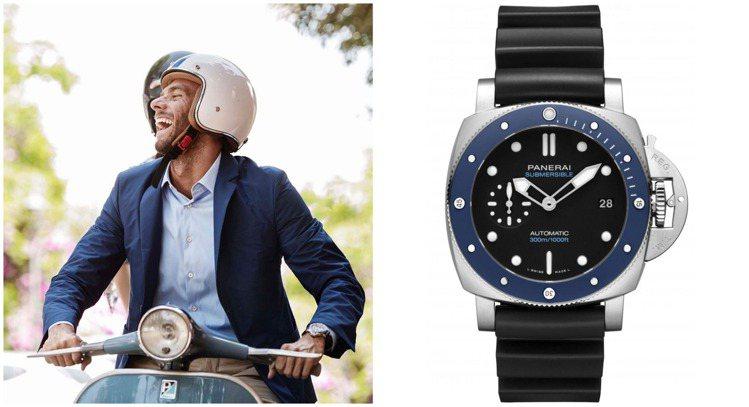 一件西裝、一頂安全帽、騎上摩托車,當然還少不了一只PANERAI腕表為率性自由加...