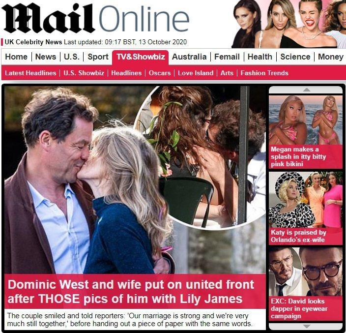 多明尼克魏斯特和莉莉詹姆斯被拍到熱吻(中圓圈內)掀起緋聞風暴,趕快拉妻子凱薩琳親...