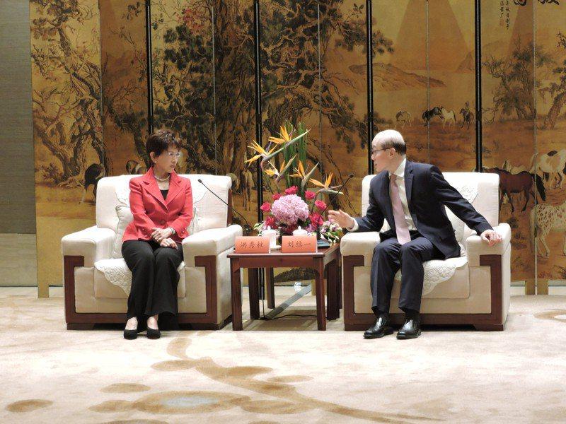 國台辦主任劉結一昨會見中國國民黨前主席洪秀柱。特派記者戴瑞芬╱攝影