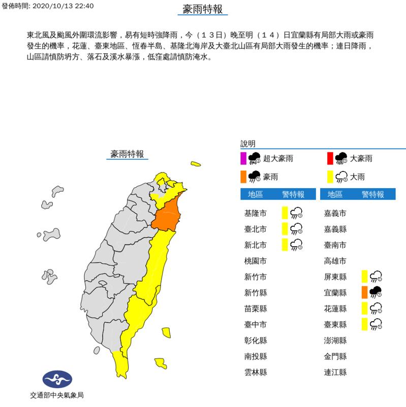 豪雨、大雨特報。圖/取自中央氣象局