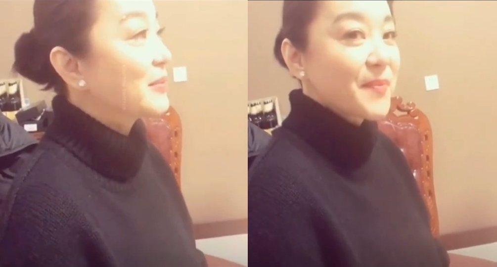网路上流传一段林青霞的影片。 图/撷自凤凰娱乐微博