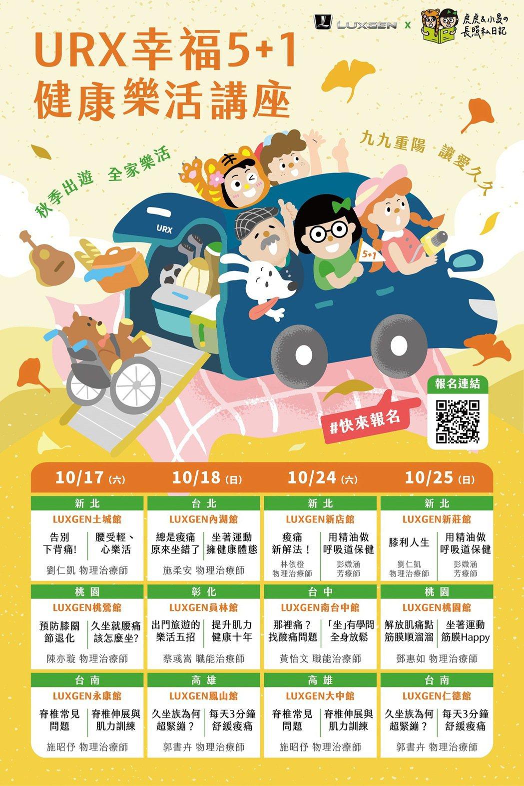 LUXGEN自10/17(六)起免費舉辦全台共12場《URX幸福5+1健康樂活講...