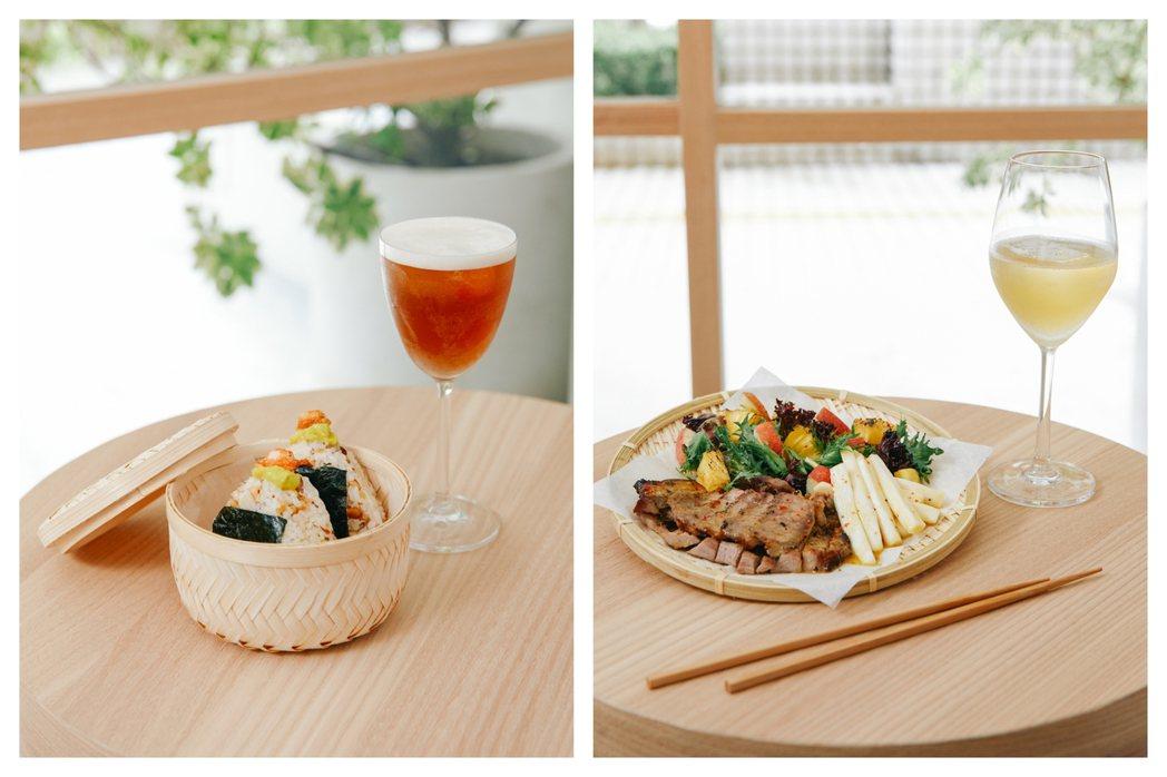 堅果酪梨鮮蝦飯糰(左),售價160元。百香果油醋烤豬肉配季節蔬果(右),售價26...