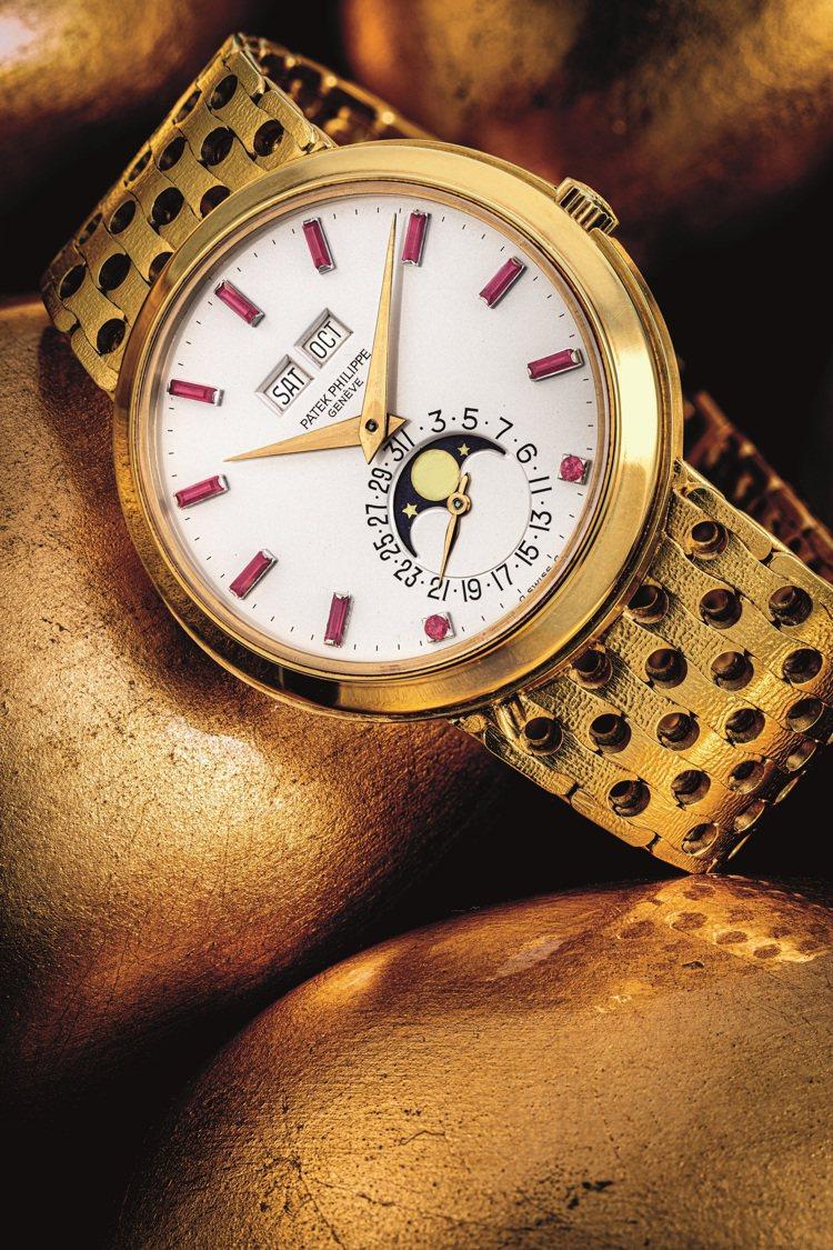 百達翡麗型號3448/8的18k金自動上鍊萬年曆、月相顯示及鑲紅寶石數字表盤,1...