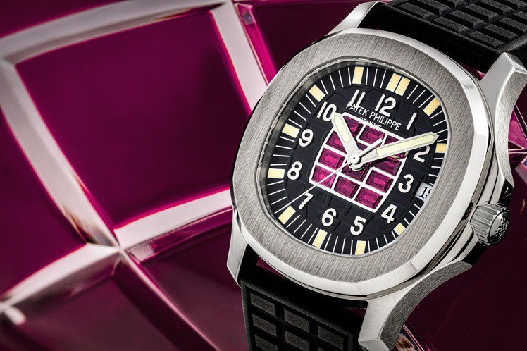 百達翡麗型號5063的18k白金AQUANAUT自動上鍊日曆腕表,表盤鑲紅寶石,...