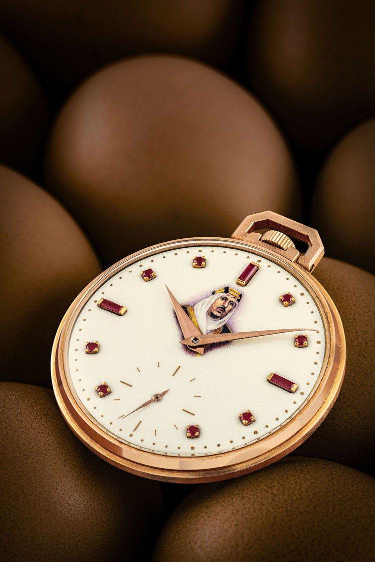 百達翡麗型號600/1的18K紅金懷表,配鑲紅寶石琺瑯沙特阿拉伯國王肖像表盤,1...