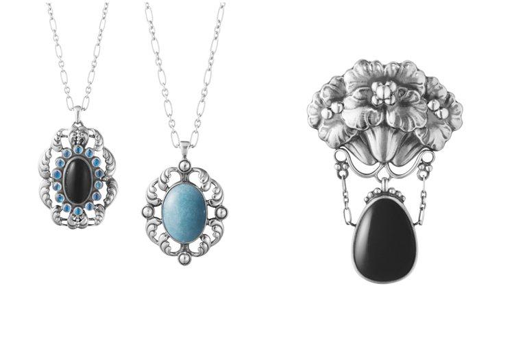 喬治傑生推出秋季限量訂製珠寶,共4款項鍊和一款胸針。圖/喬治傑生提供