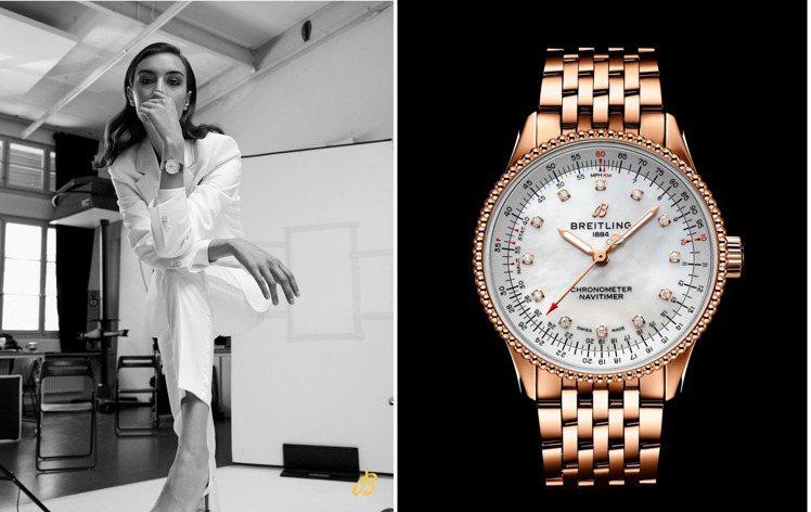 瑞士名模Ronja Furrer以白色西裝,戴上百年靈(Breitling)的N...