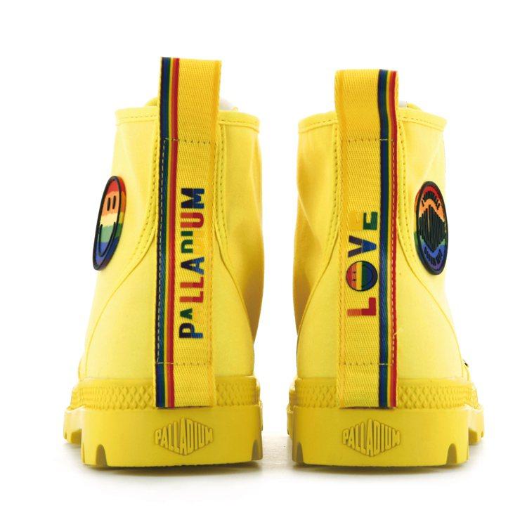 Palladium彩虹微笑特別紀念系列靴款使用了彩虹鞋提織帶。圖/Palladi...
