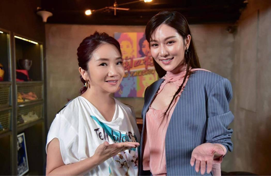 「台劇女神」曾莞婷(右)日前上陶晶瑩主持的「陶口秀」。圖/泰坦星文創影視股份有限