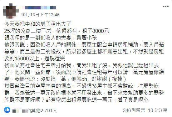 原PO發文指出他將中和25坪二樓三房的公寓租出去了,含家具只租8000元。圖/取...
