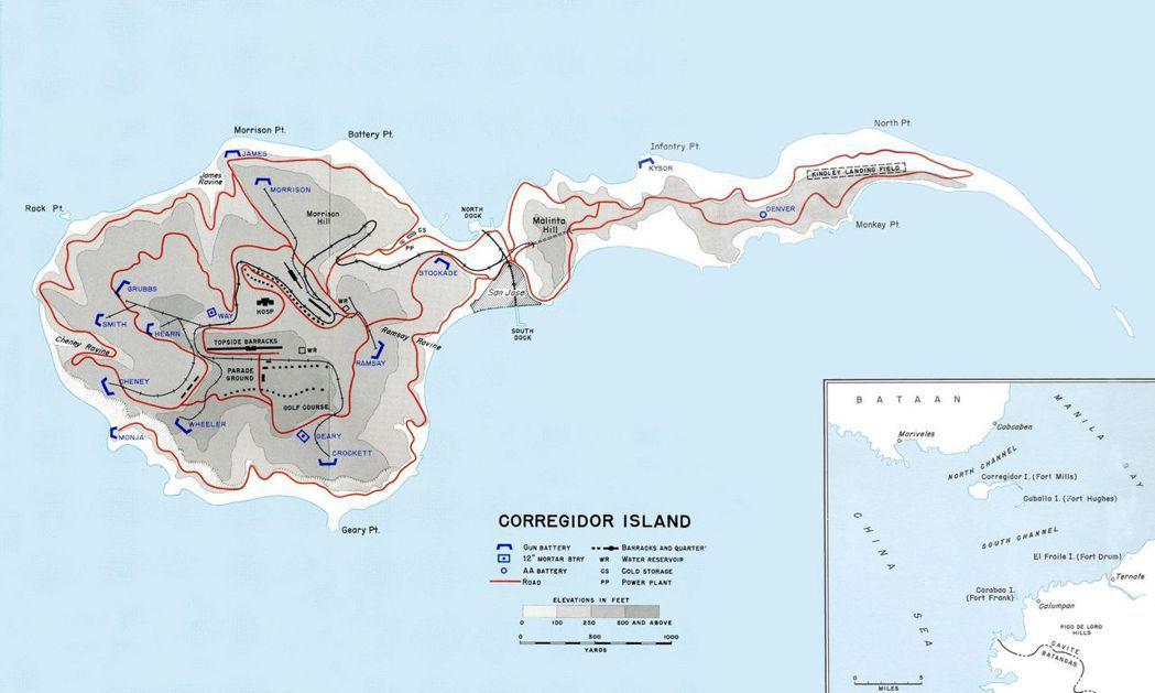 科雷希多島及周邊島嶼形勢圖。 圖/維基共享