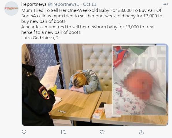 俄國一名25歲媽媽竟因缺錢買新鞋,而將一週大的女嬰放上黑市以3000英鎊出售。圖擷自Twitter