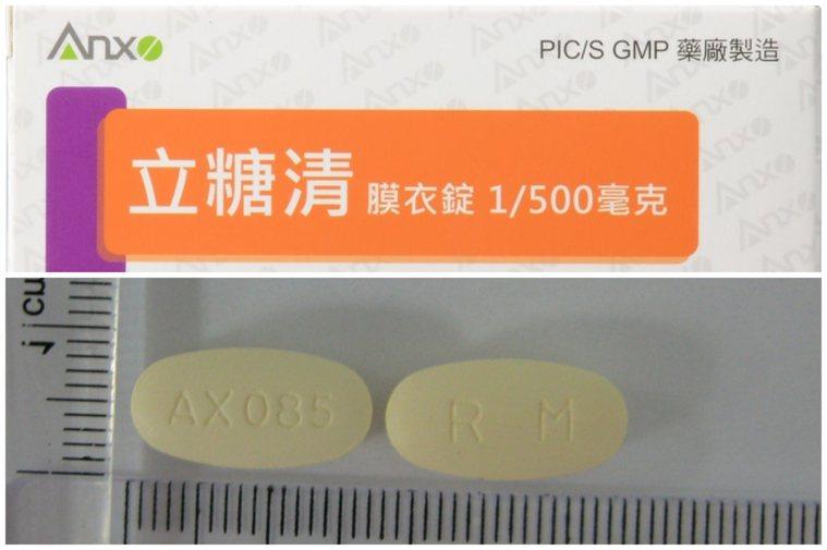 「立糖清膜衣錠 1/500毫克」。圖/取自瑩碩生技網站、食藥署提供