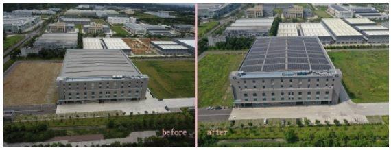 程泰亞崴集團大埔美工廠,設置屋頂型太陽能發電系統的前、後對照圖。 誠逸科技/提供