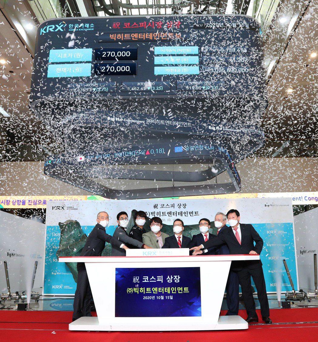 BTS所屬的Big Hit娛樂在韓股首日掛牌交易。 圖/法新社