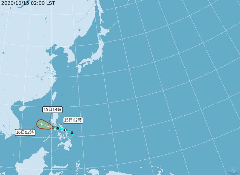 在菲律賓東側的低壓,今天將進入南海,明後天也有機會在這個大低壓帶中發展起來成為第17號颱風。圖/取自氣象局網站