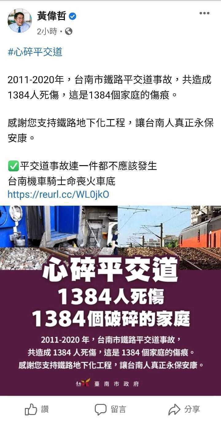鐵道局日前拆最後兩戶被拆遷戶房舍,台南市長黃偉哲的發言被批不當,刪文致歉。圖/翻攝自黃偉哲臉書