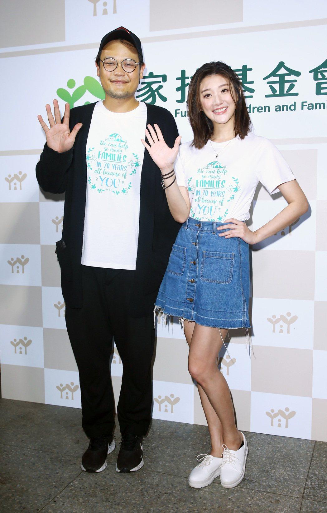 可田(左)與林逸欣今天出席「家扶七十『心無限』音樂會」。記者杜建重/攝影