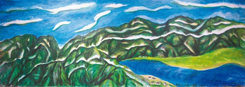 蔣勳作品〈東部大山長雲〉。