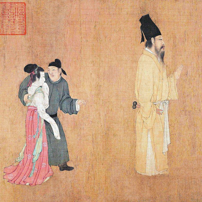 顧閎中〈韓熙載夜宴圖〉韓熙載最後步行出場。(圖/北京故宮博物院藏)