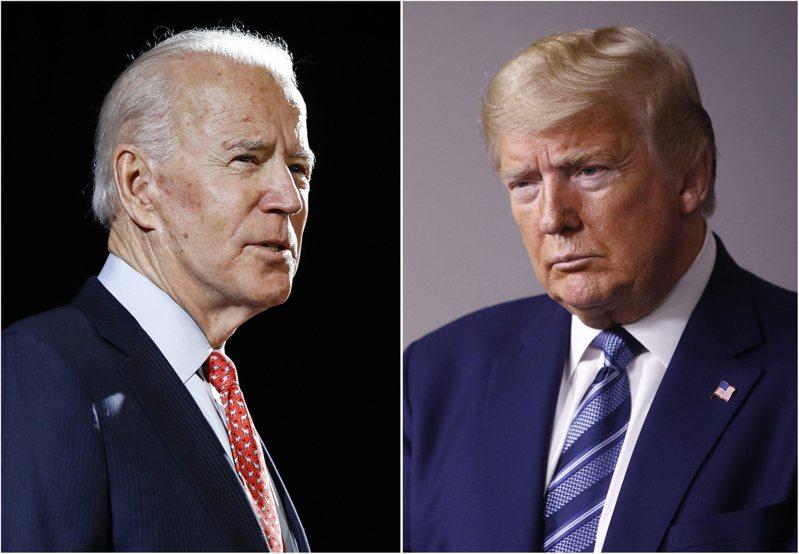 WSJ/NBC最新總統大選民調顯示,拜登(左)的支持度領先川普11個百分點。 美聯社