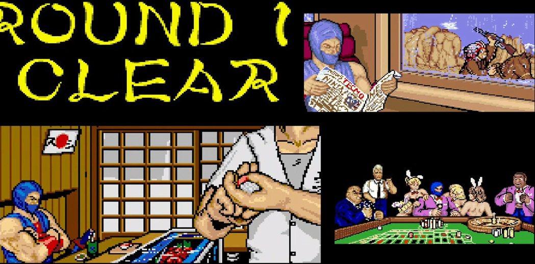 本大型電玩版本的作品,每次過關的時候,都會有個簡單的過場畫面,可以看到忍者在吃壽...