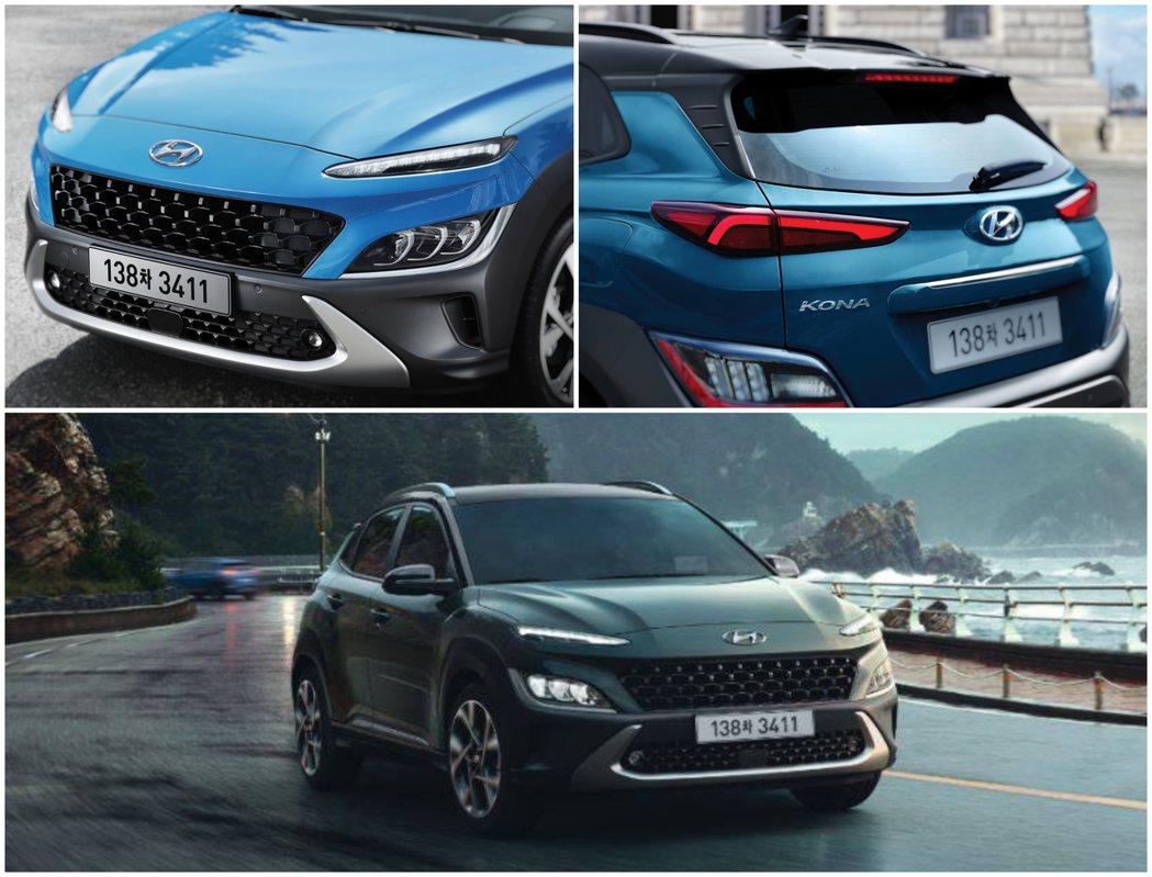 小改款Hyundai Kona在車頭上具有辨識度極高的臉孔,且與小改前的造型也有...